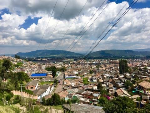 La ville de Zipaquira vu d'en dessus